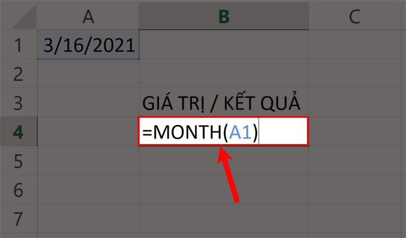 Nhập hàm =MONTH(A1) vào ô bạn cần trên bảng tính.