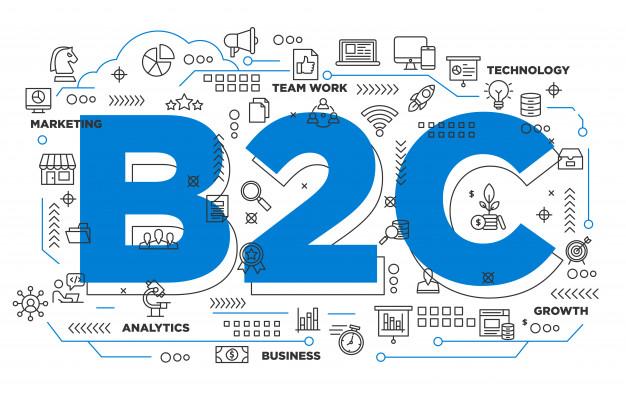 Premium Vector | B2c business to consumer iconic background