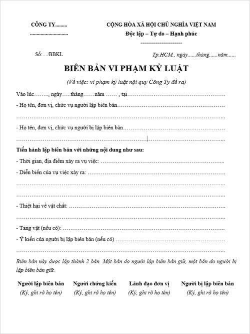 Biên Bản Vi Phạm Kỷ Luật, Vi Phạm Nội Quy Lao Động | Download Free