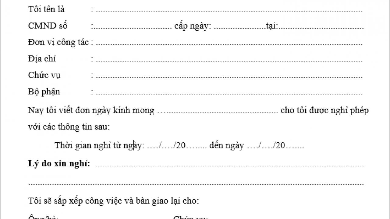 Mẫu đơn xin nghỉ cưới cập nhật năm 2020 mới nhất - Trí Tuệ Việt Nam