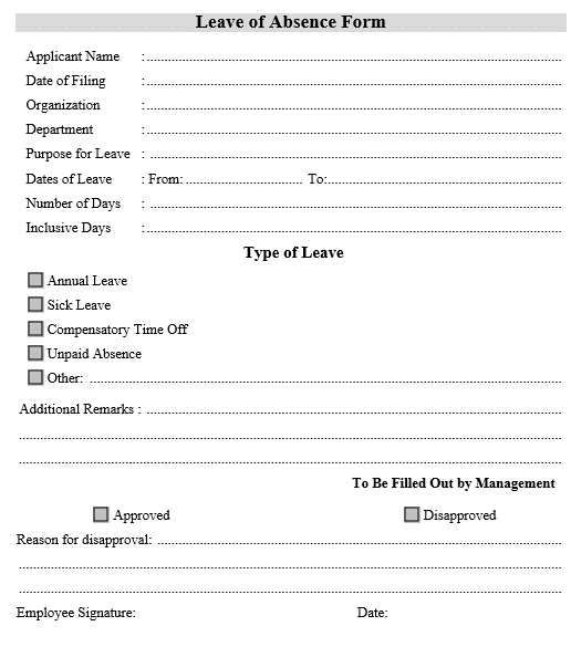 Mẫu đơn xin nghỉ phép tiếng Anh