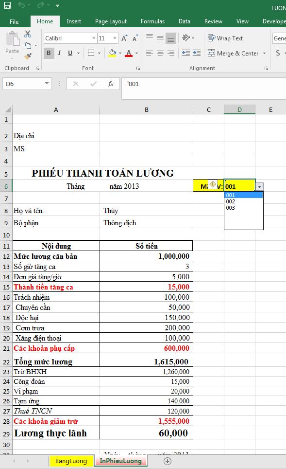 Tổ chức File tính lương