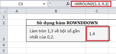 hàm làm tròn số trong excel ROWNDDOWN