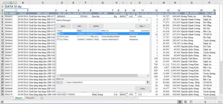 Hướng dẫn làm phiếu xuất kho trên Excel