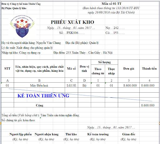 Mẫu phiếu xuất kho theo thông tư 133 - Cách viết PXK