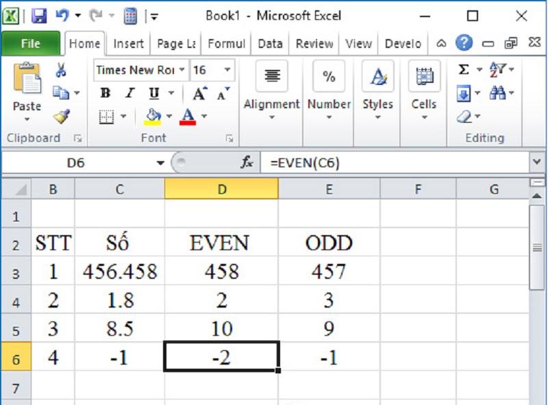 Làm tròn số trong excel với hàm EVEN và ODD