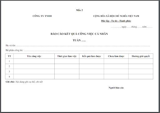 Form báo cáo công việc