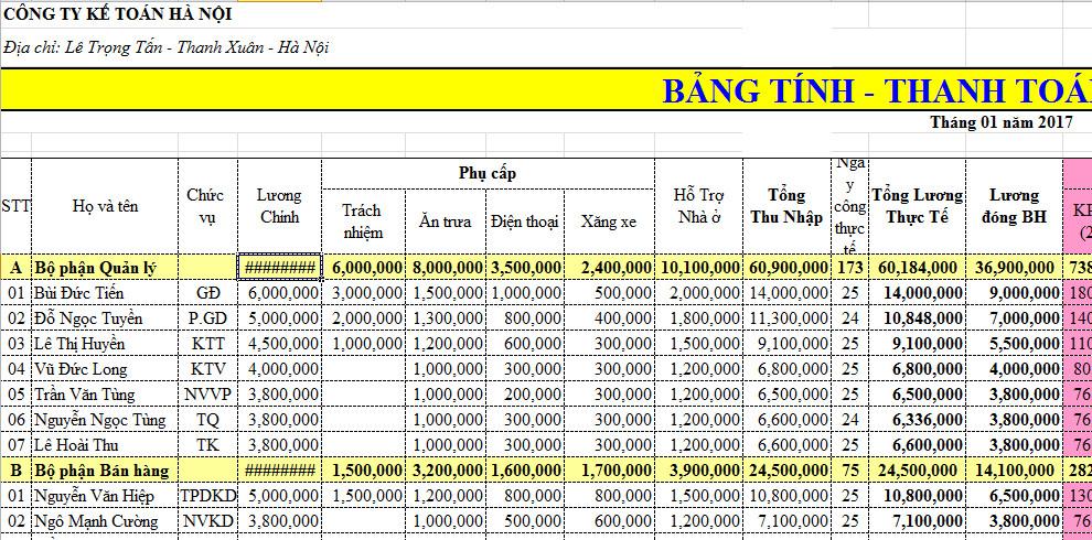 Mẫu bảng thanh toán tiền lương Thông tư 133 mới nhất có file excel