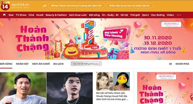 Trang web tin tức Kenh14.vn
